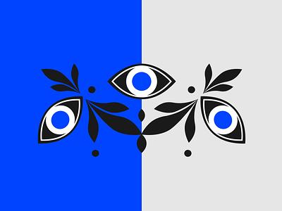 Big eyes abstract design 2d illustration vector flat