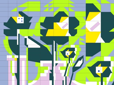 Flower arrangement grids flowers abstract illustration vector flat design