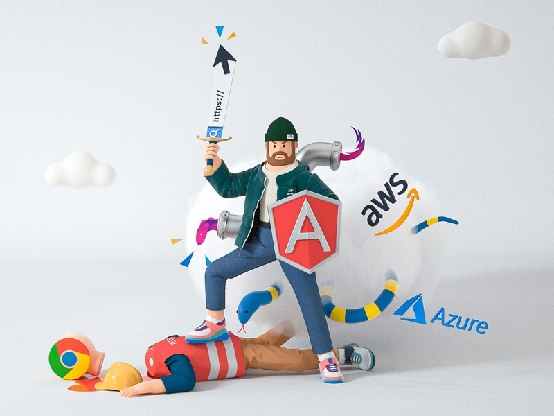 Developer cloud fight battle azure search angular chrome character google developer develop blender cinema 4d c4d 3d design illustration