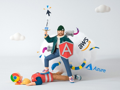 Developer cloud fight battle azure search angular chrome character google developer develop blender cinema 4d c4d 3d design illustration