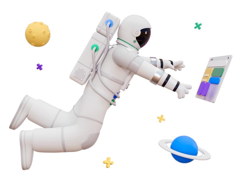 Astronaut model art touch point felic art white float start job suit planet earth space univers astronaut illustration blender cinema 4d c4d 3d