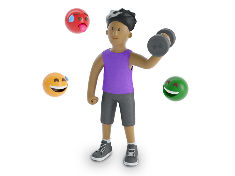 Body Condition dumbbells healthy health role body sport excercise fit people face man boy character illustration cinema 4d c4d blender 3d