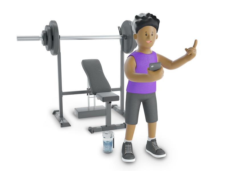 Fitness hard happy phone excercise sport role people man fitness fit boy character illustration cinema 4d c4d blender 3d