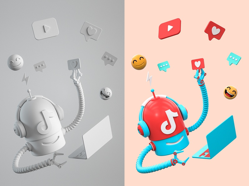 TikTok Bot music dialog bot robot player face like comment 抖音 tiktok happy computer laptop role character illustration cinema 4d c4d blender 3d