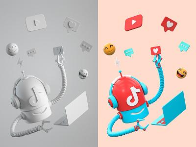 TikTok Bot music dialog bot robot player face like comment 抖音 tiktok happy computer laptop role character illustration cinema 4d c4d blender 3d