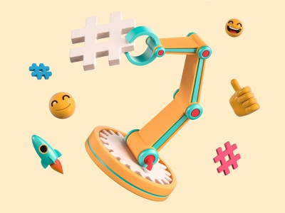 Tag Tool bot robot catch technology arm machine felic yellow rocket happy face thumbs up tool tag illustration cinema 4d c4d blender 3d