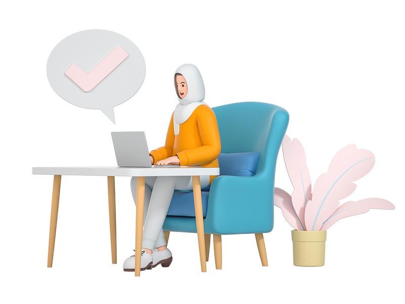 Onboarding sit company remote check onboarding business work sofa muslim girl computer laptop design role character illustration cinema 4d c4d blender 3d