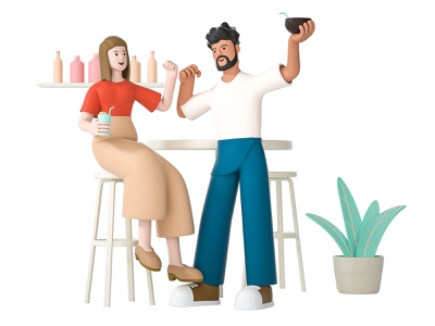 Payday humi drink bar couple mate team friend highfive lady girl woman man happy boy role character illustration cinema 4d c4d 3d