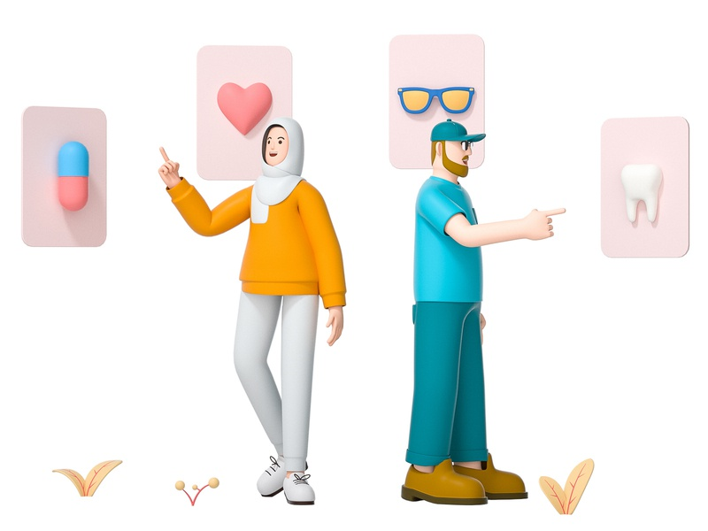 Benefits muslim card tooth glasses medicine heart team friend mate woman girl man boy role character illustration cinema 4d c4d blender 3d