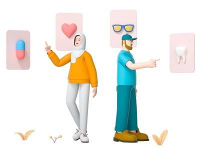 Benefits humi muslim card tooth glasses medicine heart team friend mate woman girl man boy role character illustration cinema 4d c4d 3d