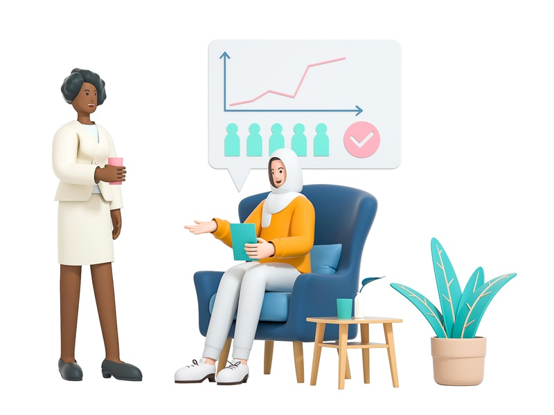 HR people sofa stand sit friend mate team group company hr lady girl woman role character illustration cinema 4d c4d blender 3d