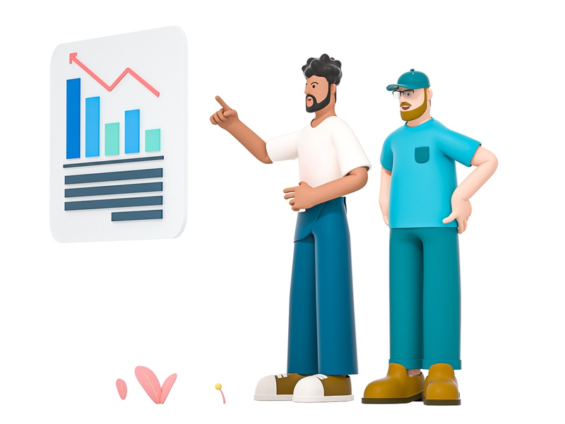 Reporfing business grow diagram infographic data chart reporting report team mate friend man boy role character illustration cinema 4d c4d blender 3d