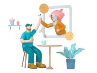 Payroll muslim remote highfive work bank money business team mate woman girl friend man boy character illustration cinema 4d c4d blender 3d