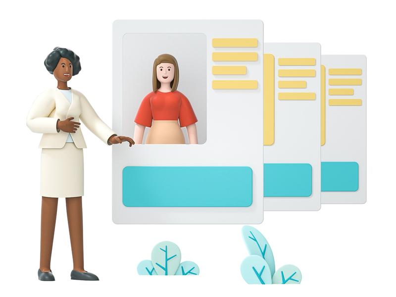 Employees job infomation company business work card person hr employee woman team mate girl friend character illustration cinema 4d c4d blender 3d