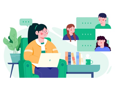 Kinzaa work teamwork company remote office chat communicate team illustrator draw vector flat illustration kinzaa green flat design role character illustration