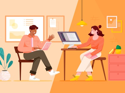 Geekbot Blog Cover office business work man woman friend team collaborate collaboration chat remote vector flat article editorial cover blog geekbot character illustration
