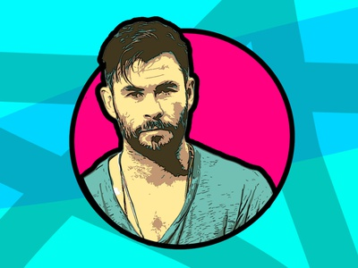 Chris Hemsworth Digital Illustration fanart celebrity digital digital art colorful artwork design vector illustration digital illustration art