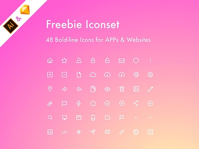 [Iconset#001] 48 Freebie Icons for You icons design website app sketch ai illustator iconset freebie free icons icon