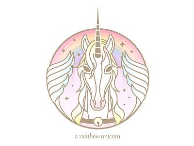 A Rainbow Unicorn comic illustator pegasus logo unicore logo unicorn head girlish maiden horse wings pegasus rainbow unicorn pony