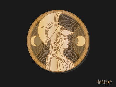 Athena greek helmut shield coin golden gold beauty wisdom peace god of war athena goddess illustrator
