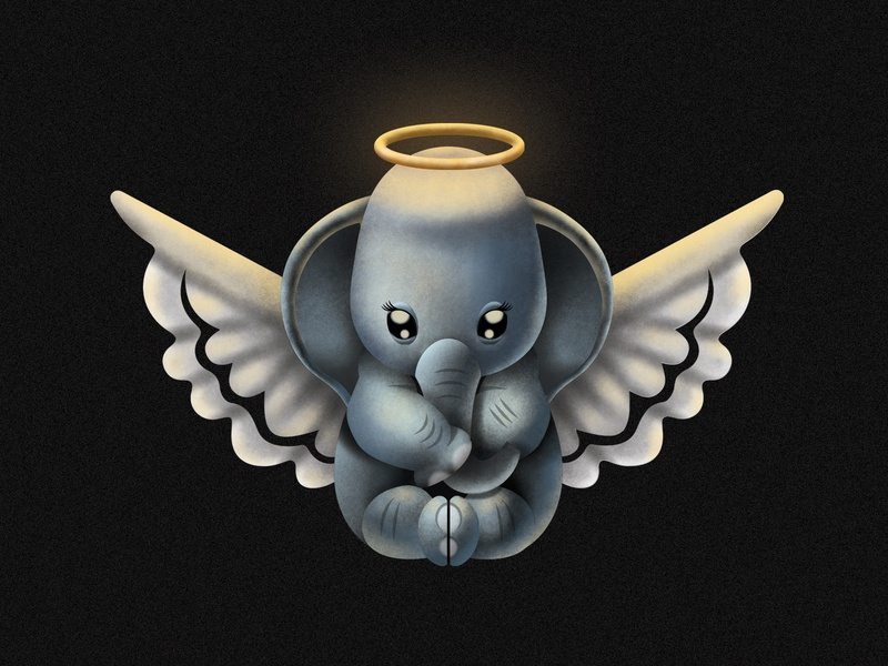 Baby angel Elephant character design illustration caricature animation 2d animation vector icon flat design art