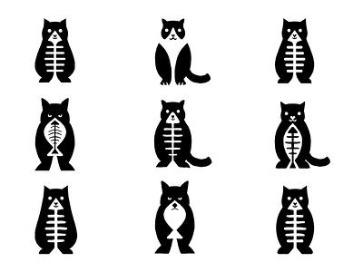 Cat sketches logo design icons sketching sketches flat graphic design minimal logo icon design animal icon