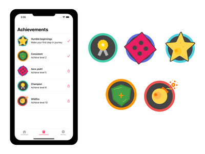 Morango languages Achievements logo ui creative mobile language app design ios app illustration figma