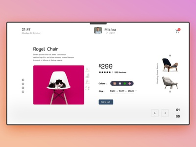 Chair Shopping Page decoration chair  cart minimal design web ux ui chart chair landing page.
