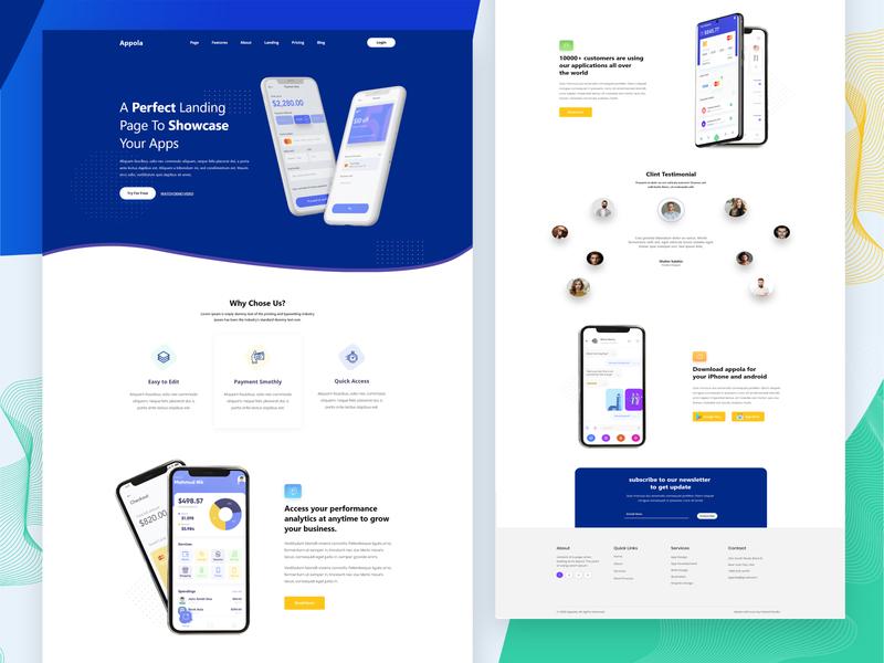 App Landing Page minimal branding website design webdesign trendy modern mobile ui app landing page app landing website design