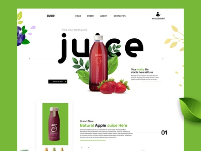 Juice Landing page best shot illustration best design juice landing page juice trendy design best illustrations illustrator web branding website ux ui design