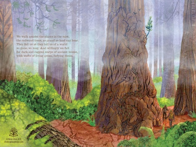 Giants in the Mist woods walk nature illustration nature mist giants poem poetry photoshop art illustration hiking trees redwoods redwood