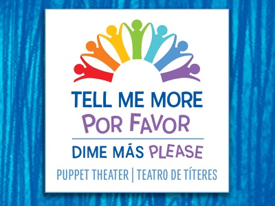 TellMeMore dribbble sign graphic design typography illustrator colorful rainbow bilingual puppets children kids vector logo