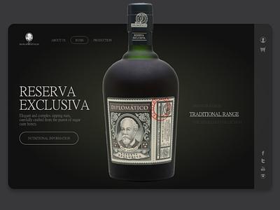Dimplomatico Rum design concept illustration illustrator website ui ux typography minimal design branding adobe xd