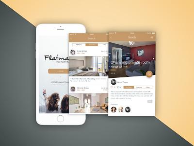 Flatmates App website web app minimal ui ux typography design branding adobe xd
