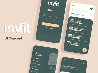 myfit App icon design branding typography adobe xd app ui