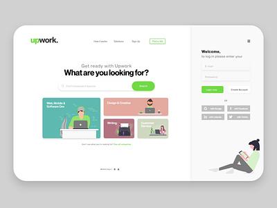 Upwork - redesign vector illustration icon flat website web minimal design typography adobe xd
