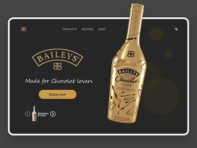 Baileys art flat website minimal ui branding design adobe xd typography
