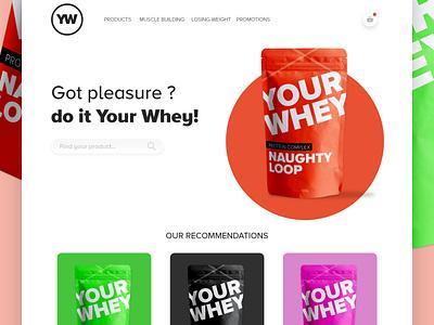Your Whey Landingpage typography illustration web flat website minimal ui branding design adobe xd