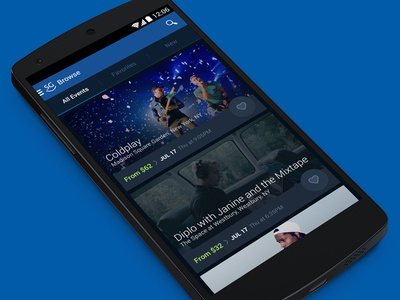 Browse Events on Android android seatgeek browse events track