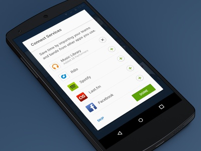 Add you music services seatgeek android app connect