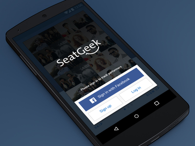 Login on Android seatgeek log in sign up android