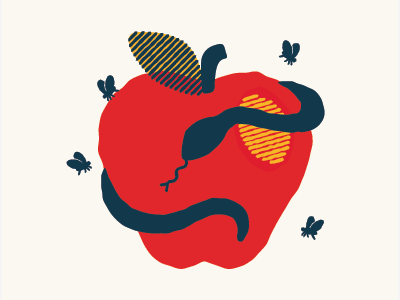 Bad Apple apple snake flies primary colors poster illustration