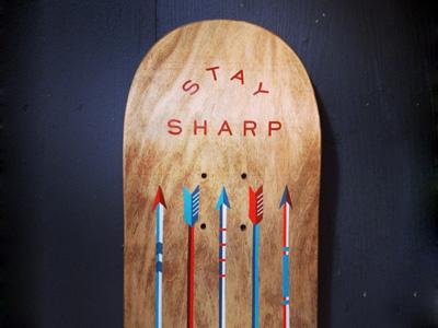 Stay Sharp skate deck skating hand painted illustration arrows fundraiser