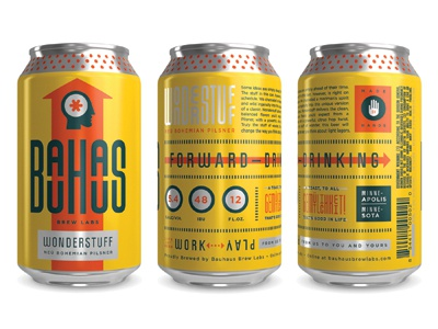Cans bauhaus beer cans design packaging logotype arrow icon color head