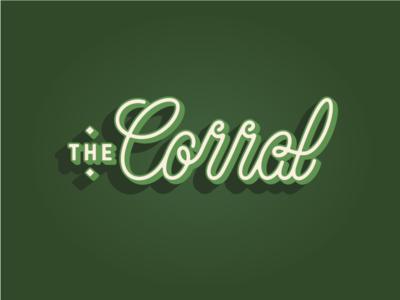 The Corral logotype weird shadows dimensional type script