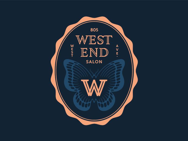 West End badge icon logo w butterfly texas austin hair salon