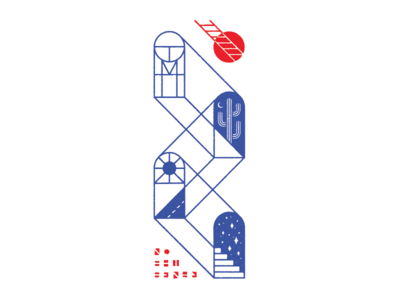 Welcome Home stairway to nowhere portal open road sun ladder cactus home print risograph art