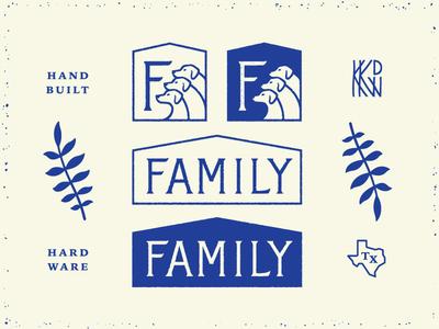 Family icon design logo home house dogs texas hardware family kkdw
