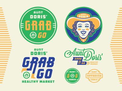 Aunt Doris type illustration iconography branding logo design health food healthy market grabngo