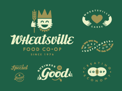 Wheat King branding iconography typography type script logo coop royalty king wheat